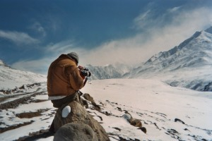 Frederick Marx shooting in snowy mountains